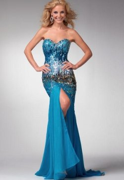 strapless sequined prom dress 2011