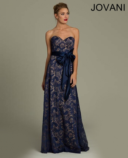 blue lace mother of bride gown 2014