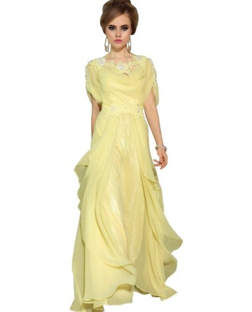 elegant yellow summer mother of groom dress 2014