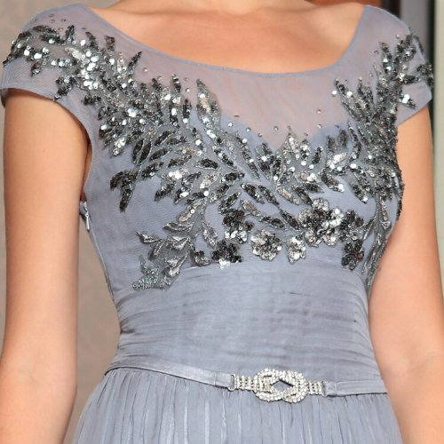 embroidered long grey mother of the bride dress 2014