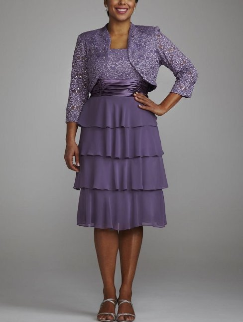 purple 2 piece mother of bride dress 2014