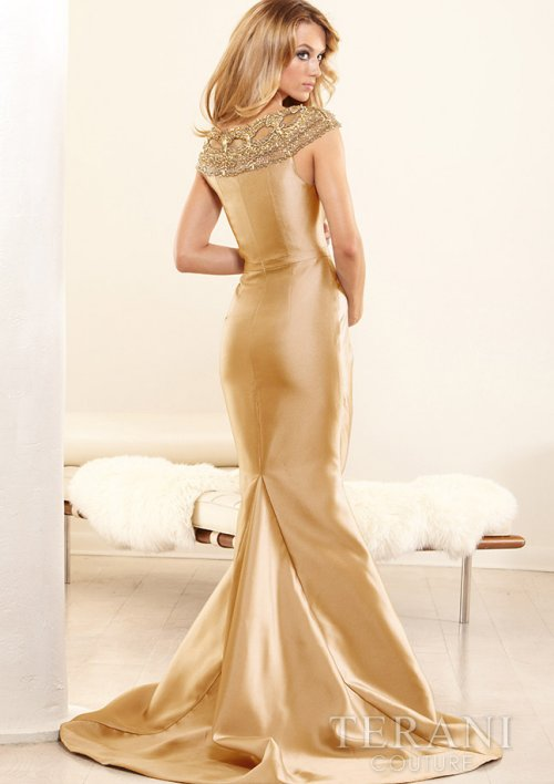 sexy gold mother of the bride dress 2014 by Terani-