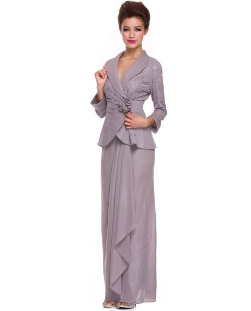 beautiful taupe mother of bride dress with long sleeves 2014 by NariaNNa