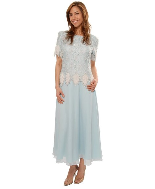 light blue lace tea length dress for mother of the bride 2014 by The Evening Store