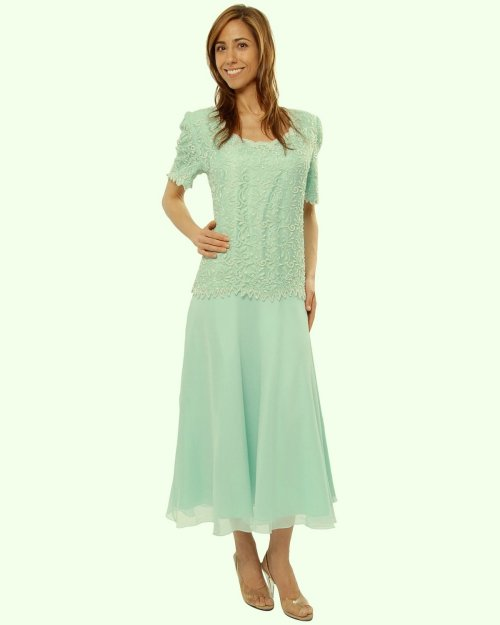 mint lace tea length dress for mother of the bride 2014 by The Evening Store