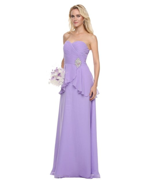 strapless lilac peplum mother of bride groom dress 2014 by Juliet Dresses