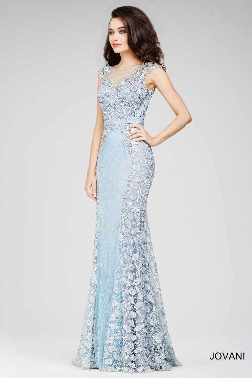 floral blue lace dress mother bride 2015 Jovani 27792