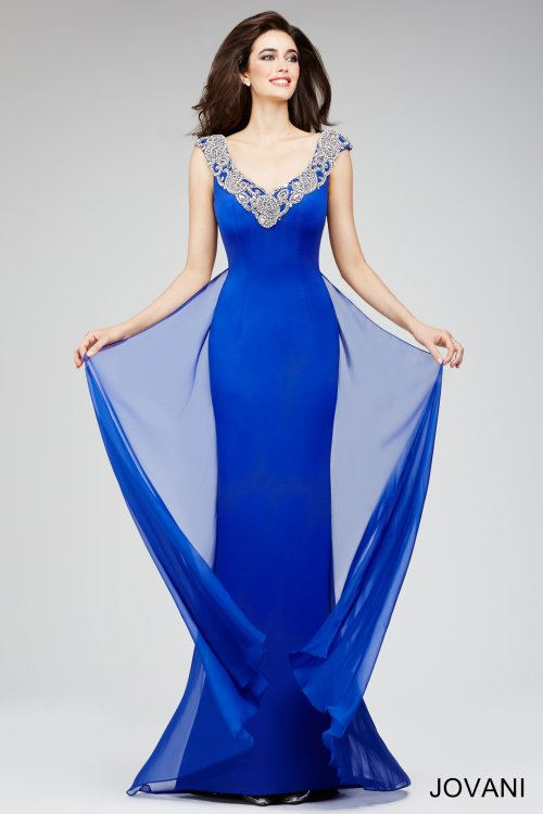 stunning v-neck blue-silver mother bride dress 2015-22647