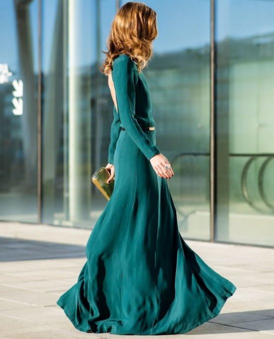 long sexy green open back long sleeve mother of bride groom dress