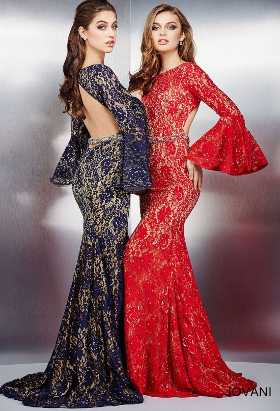 red-blue gowns long sleeves open back jovani 35106