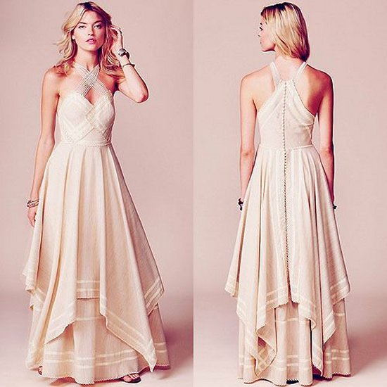sexy beige bohemian summer mother of bride dress