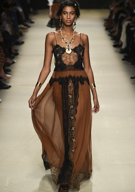 sexy brown-black boho mother of groom dress Alberta Ferretti