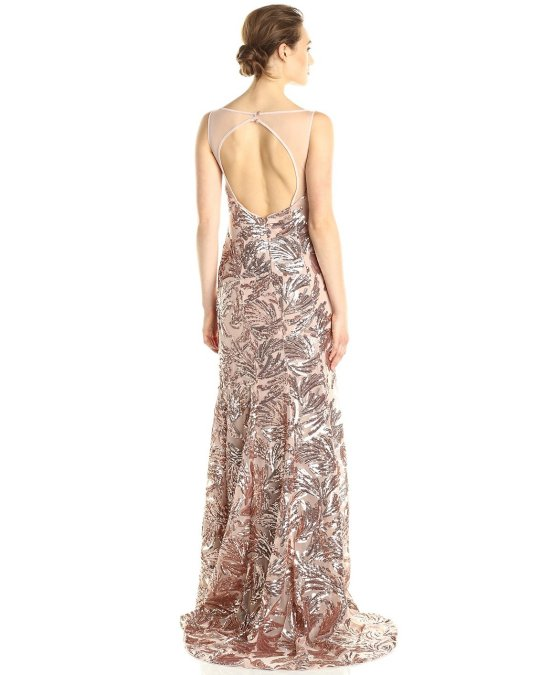 sexy gold leaf design open back mother of the bride Adrianna Papell