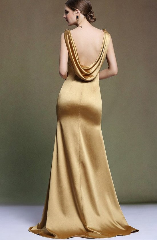 sexy gold low back mother of groom dress Ababalaya-b