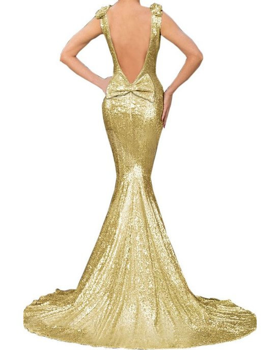 sexy gold mermaid open back dress mother of bride FIYOTE-b