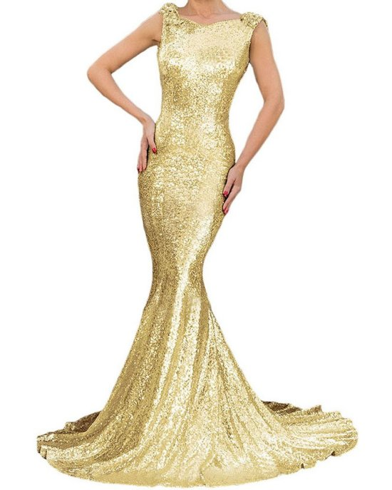sexy gold mermaid open back dress mother of bride FIYOTE
