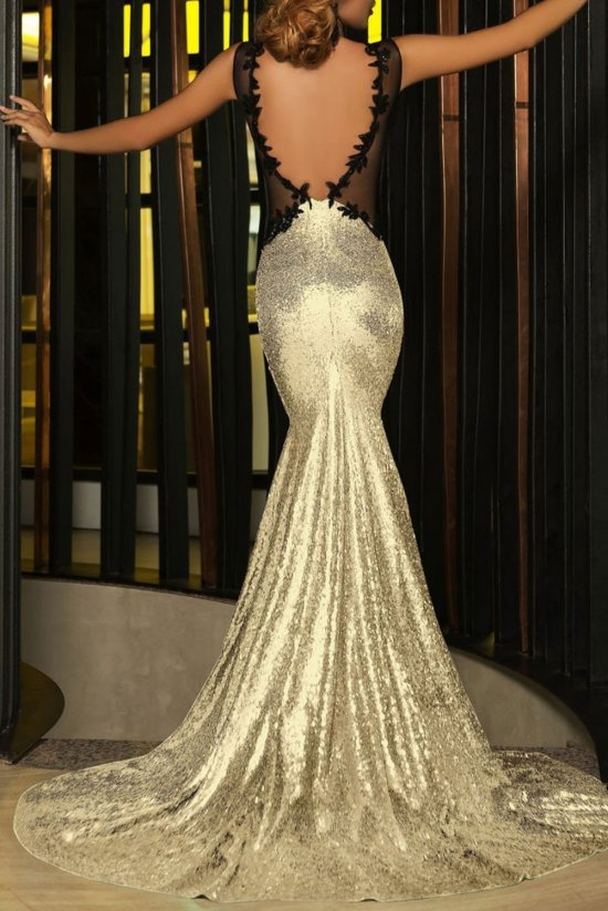 sexy gold mother of bride dress open back slit iecool-b