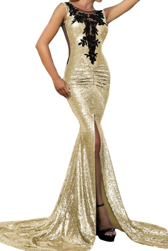 sexy gold mother of bride dress open back slit iecool