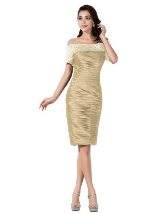 sexy gold off shoulder mother of bride dress Vienna Bride