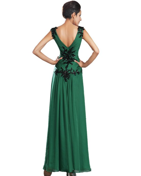 sexy green v-neck low back mother of bride dress eDressit-
