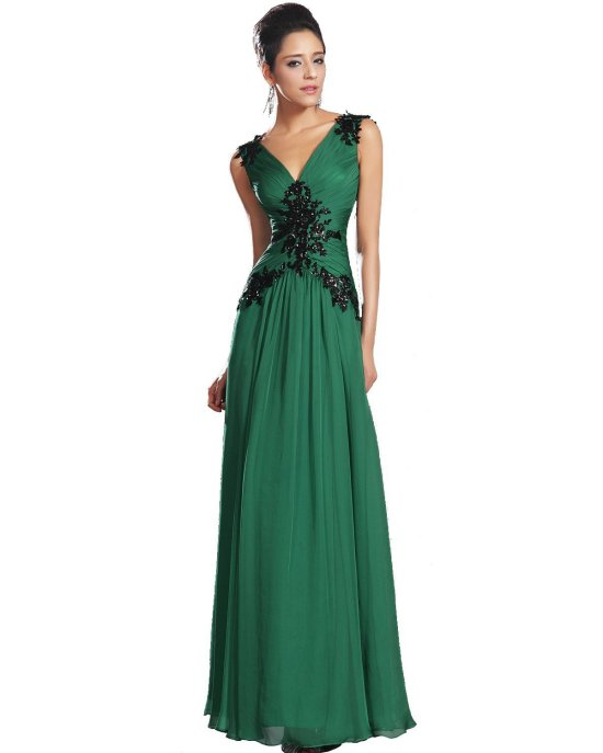 sexy green v-neck low back mother of bride dress eDressit