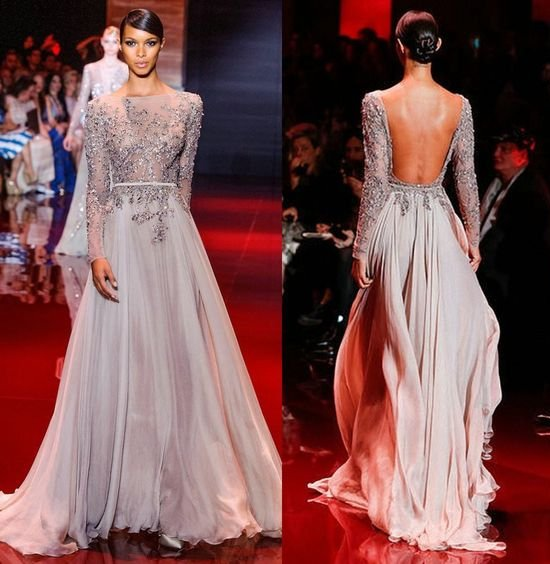 sexy long beige open back long sleeves Zuhair Murad
