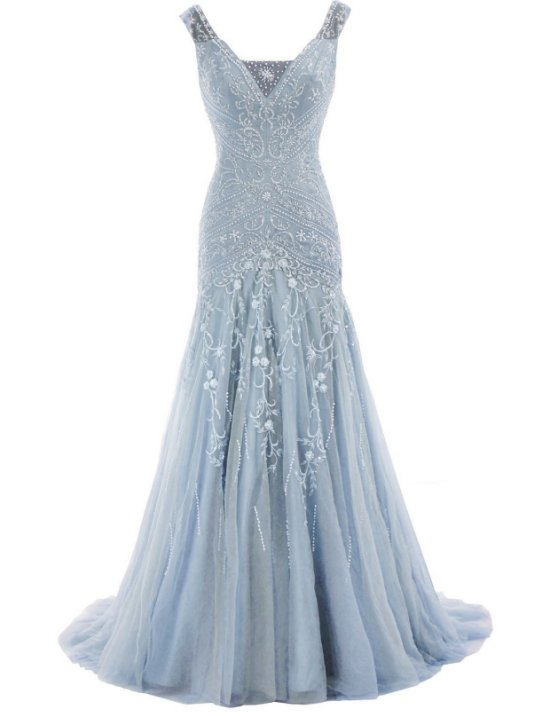 sexy mermaid skyblue mother of bride dress HTYS