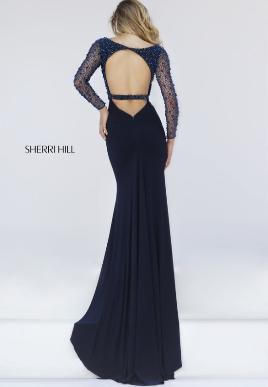 sexy navy blue long sleeves mother of bride dress open back Sherri Hill 50060-b