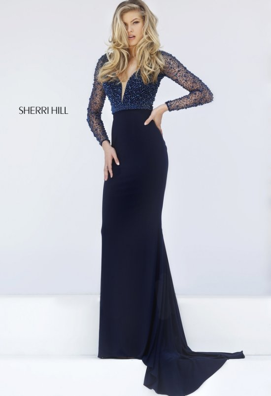 sexy navy blue long sleeves mother of bride dress open back Sherri Hill 50060