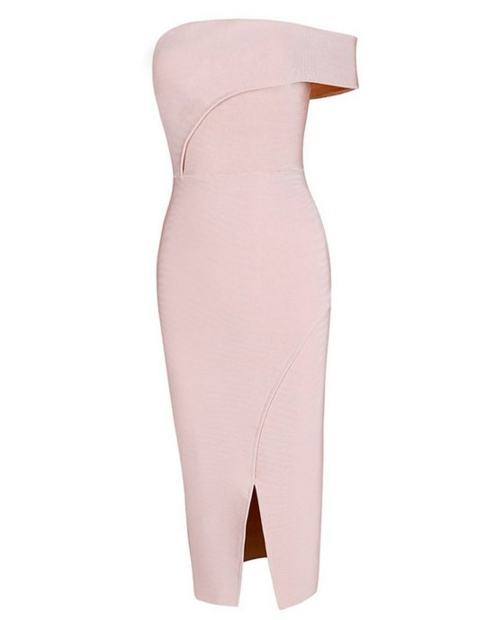 sexy pink off shoulder mother of bride dress UONBOX