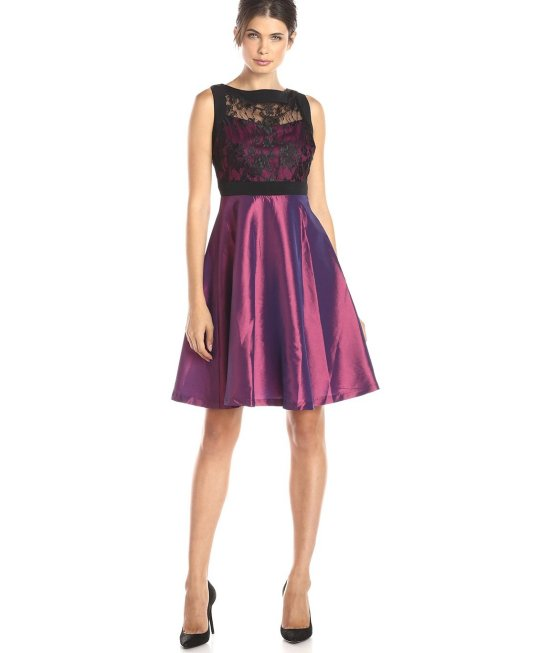 sexy short black lace purple mother of bride dress Sangria