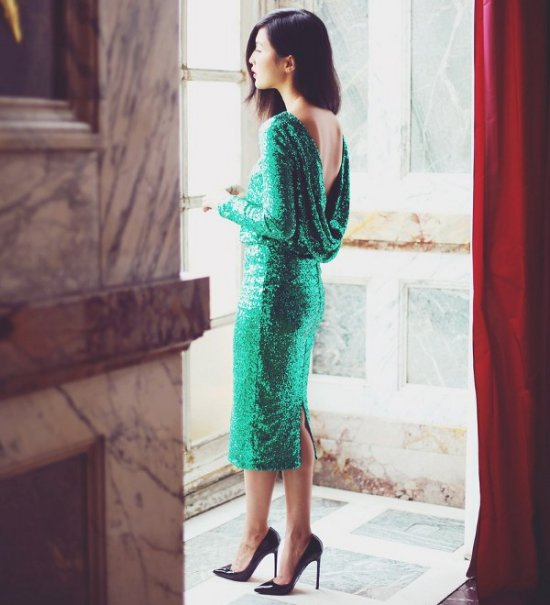 sexy short sequin green mother of bride low back