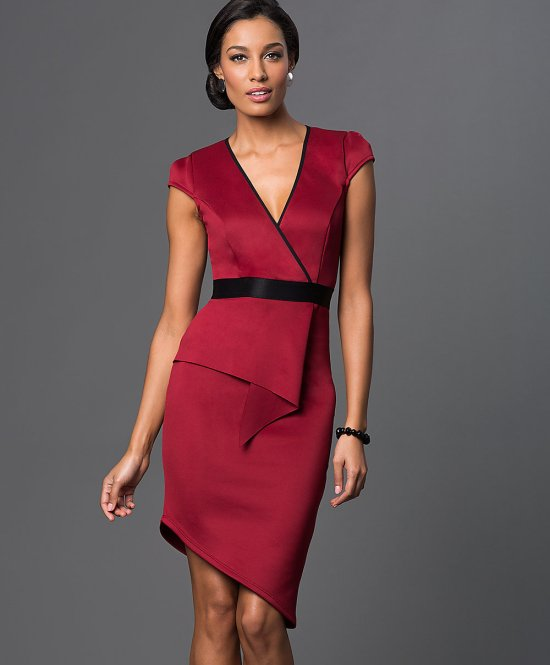 sexy v-neck cap sleeve red mother of bride dress