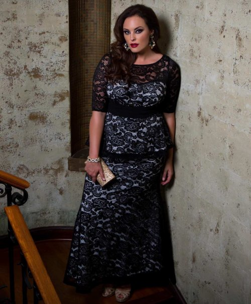 black lace nude plus size puplum mother f the bride dress Kiyonna sleeves