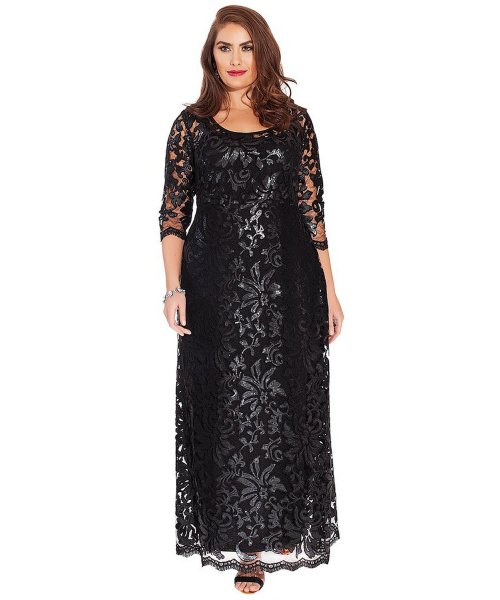 black lace sleeve mother of the bride plus size dress IGIGI