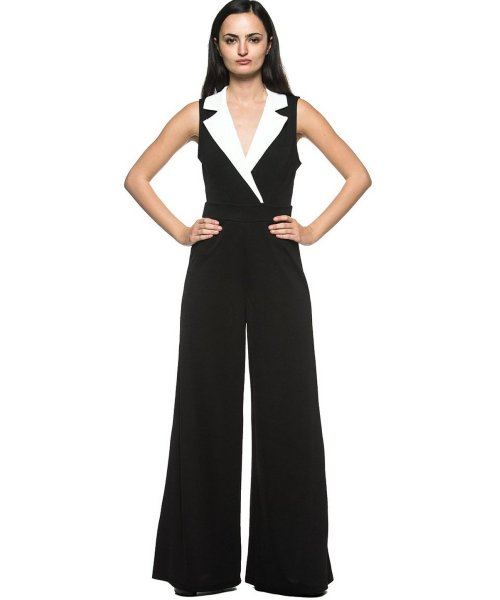 black white tuxedo style plus size mother of bride pant suit Rogue Finery
