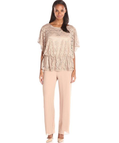 champagne lace plus size mother of bride pant suit Le Bos