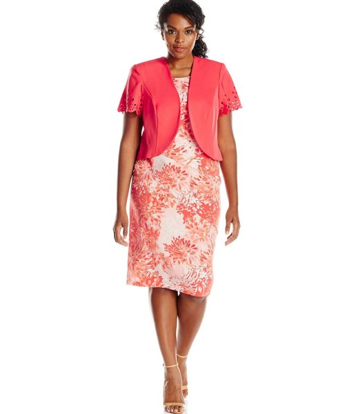 coral floral plus size mother of bride dress set laser cut jacket Maya Brooke