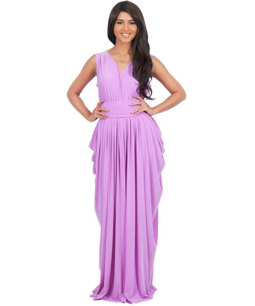 elegant light purple ruffle mother of bride plus size dress Koh Koh