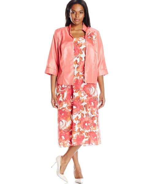 floral coral plus size mother of bride dress Maya Brooke