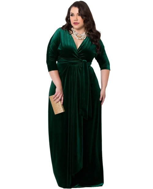 green velvet plus size mother of the bride wrap dress Kiyonna sleeves