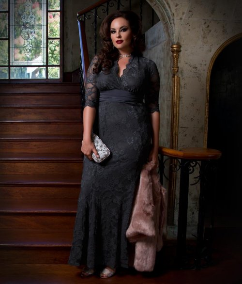 grey lace plus size mother of bride dress sleeve Kiyonna