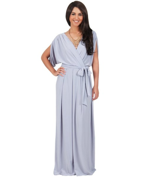 long flowy grey plus size mother of bride dress with batwing sleeves wrap koh koh