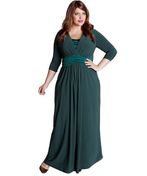 long green plus size mother of bride dress IGIGI