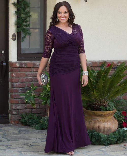 long purple sleeves mother of bride dress plus size Kiyonna