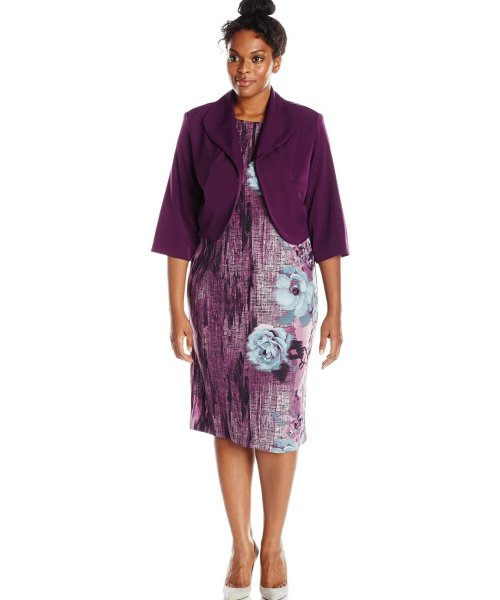 purple-blue floral print plus size dress for mother with jacket Maya Brooke