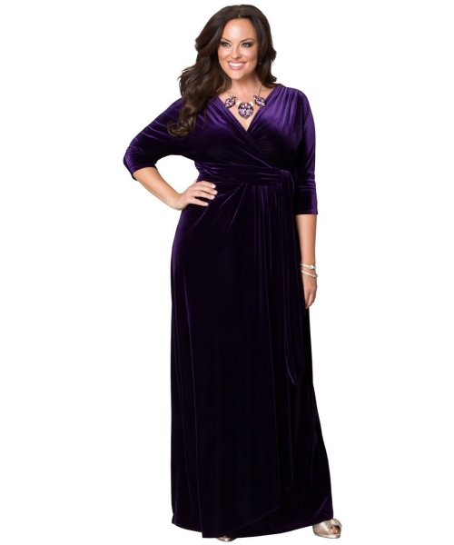 purple velvet plus size mother of the bride wrap dress Kiyonna sleeves
