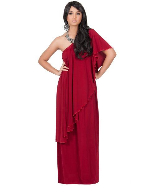 red one shoulder ruffle plus size mother of bride dress Koh Koh
