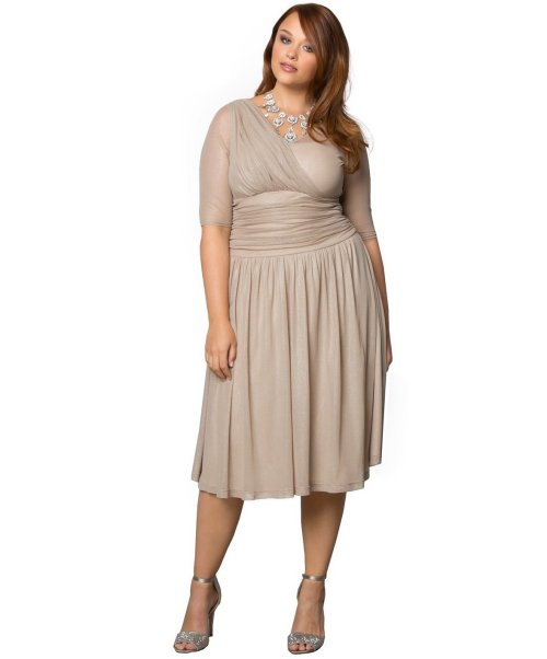 Short Champagne Plus Size Ruched Mother Of Bride Dress Kiyonna Sleeves