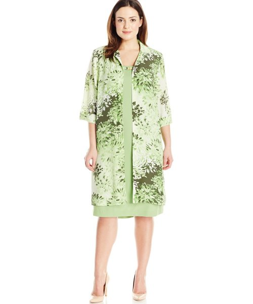 short floral green two piece plus size motehr of bride dress Maya Brooke
